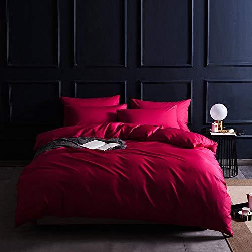100% langstapelige Baumwolle, 4-teilig, einfarbig, Bettdecke aus Satin, Tagesdecke, Umschlag, Kissenbezug, unsichtbarer Reißverschluss-romanticred-2.2m -