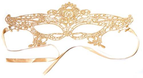 PRESKIN - Spitzenmaske für Karneval, venizianische Verführung aus Spitze für Fasching, gold-farbene Maske für Verkleidung und Party