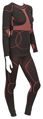 icefeld®: Sport-/ Ski-Thermo-Unterwäsche-Set für Damen seamless (nahtfrei) in schwarz/koralle S