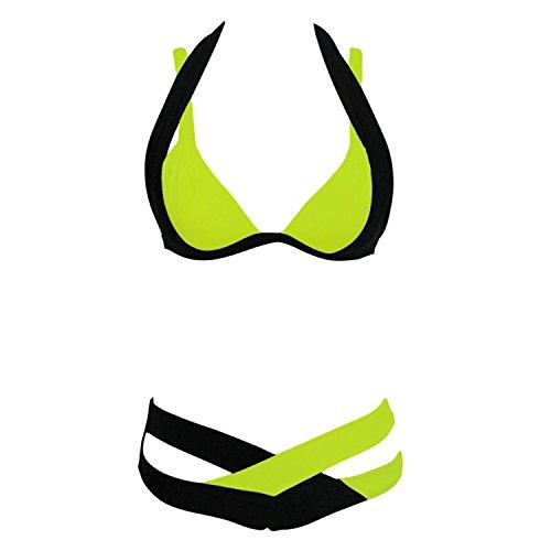 Sexy Damen Bikini Set Kreuz Criss Polsterbinde Zweiteilige Push-Up BH Neckholder Tops Bademode Tauchen Sport Badeanzug Gelb