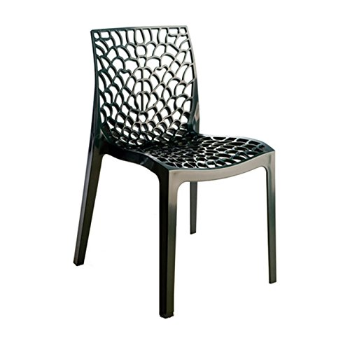 Grandsoleil Upon Gruvyer Chaise empilable, Polypropylène, Anthracite, 51 x 52 x 81 cm