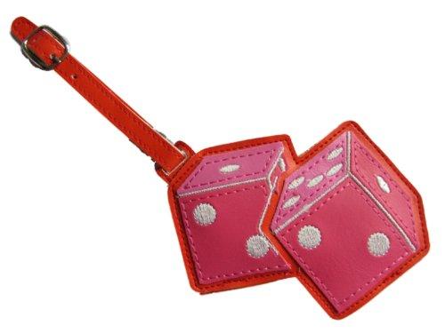 Kunstleder groß Gepäck Schule Bag Tag hell rosa Würfel - Apple Gepäck-tag