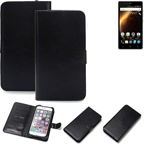 K-S-Trade 360° Wallet Case Handyhülle Allview P6 Energy Lite Schutz Hülle Smartphone Flip Cover Flipstyle Tasche Schutzhülle Flipcover Slim Bumper schwarz, 1x