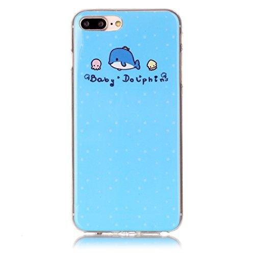 BONROY® Coque pour iPhone 7 Plus (5,5 Zoll),Housse en cuir pour iPhone 7 Plus (5,5 Zoll),imprimé étui en cuir PU Cuir Flip Magnétique Portefeuille Etui Housse de Protection Coque Étui Case Cover avec  baby dolphins