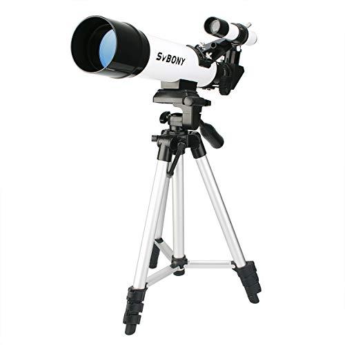 Svbony SV25 Telescopio Astronomico Niños 420/60mm Telescopio Profesional Niños con Trípode Telescopio para Niños Telescopio Principiante (Blanco)