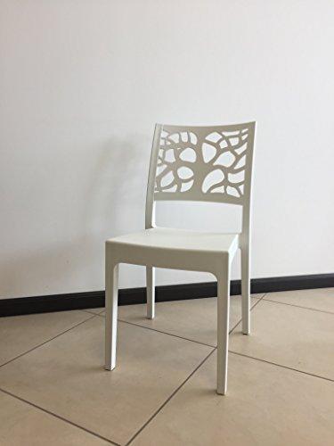 Arredocasa serafino sedia teti bianca, moderna polipropilene cucina, soggiorno, esterno impilabile