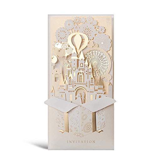 MXK Wedding Fantasia 3D Laser Geschnittene Hochzeit In Den Schloss-Einladungs-Karten In Der Champagne-Farbe, Zusammenpassend Schlagen EIN Und Bringen Leere Einsatz-Karte Und Siegel Zusammen