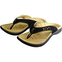 Neat Feat Men's Zori Sport Orthotic Slip-on Sandals Flip Flop, Black/Tan, 12 D US