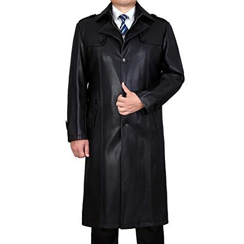 Herren Winter Warme Lederjacke Vintage Mantel Outdoor Militär Slim Fit Smart Casual Reißverschluss Lange Männliche Parka Trench Mode Ledermantel Blazer Windbreaker,Black-XXXXL