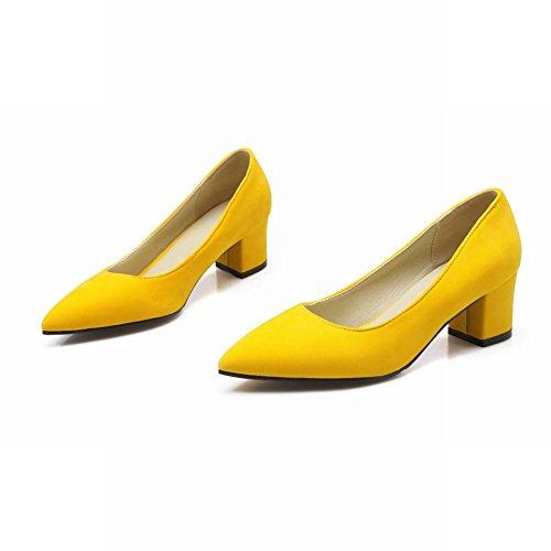 Mee Shoes Damen Geschlossen spitz Nubukleder chunky heels Pumps Gelb