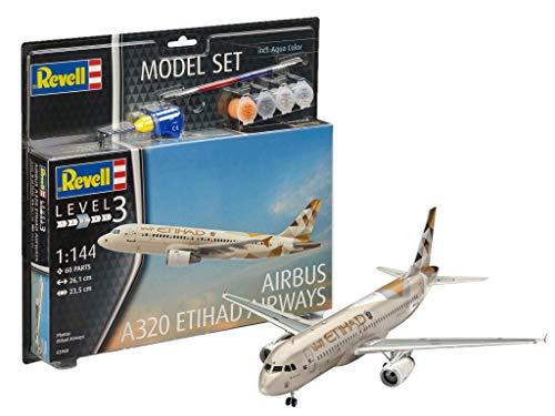Revell 63968 10 Modellbausatz Airbus A320 Etihad im Maßstab 1:144 (Kits 144 Model 1 Revell)