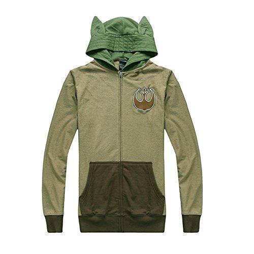 Stickerei Sweatshirt mit Ohren Kapuze Erwachsene Grün Jacke Herren SW Cosplay Kostüm Merchandise (Yoda Cosplay Kostüm)