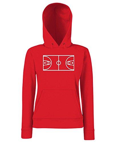 T-Shirtshock - Sweats a capuche Femme SP0027 Basketball Field Maglietta Rouge