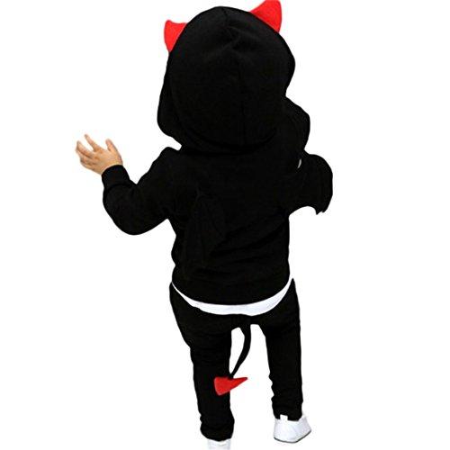 Hey! Disfraz de Halloween para Niños y Niñas Traje de Murciélago con Alas Ropa Escalada de Cosplay para Fiesta,Longra ❤️ (3 años, Negro)