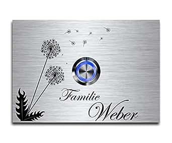 Edelstahl Türklingel mit Gravur LED Klingelknopf und freier Motivauswahl Klingelplatte mit Namen beschriftet graviert ideal als Geschenkidee