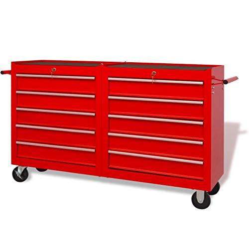 Werkzeugwagen Werkstattwagen Werkzeugschrank mit 10 Anti-Rutschbeschichtung Schubladen 2 Räder mit Festellbremse Größe: 140 x 33 x 77,2 cm (L x B x H)