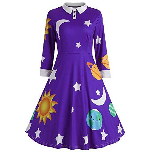 iHAZA Femmes Rétro Robe à Manches Longues Soleil Et Lune éToile Imprimer Botton Flare Vintage Robes DéContracté Lâche Dames Robes