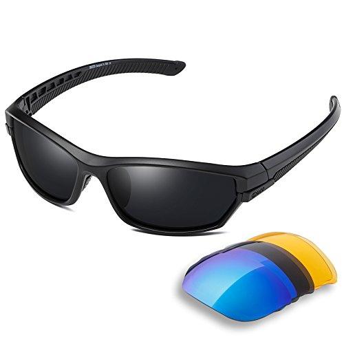 Duco polarizzato sport occhiali da sole per sci guida golf running ciclismo tr90 superlight frame con 3 lenti intercambiabili 6216 (nero)