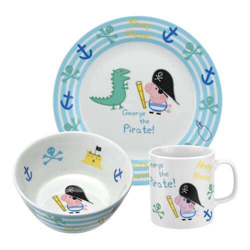 Portmeirion Peppa Wutz George Pirat 3-teiliges Set Schale Teller Tasse Becher