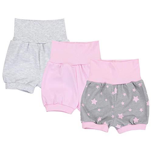 TupTam Baby Mädchen Kurze Pumphose 3er Pack, Farbe: Farbenmix 3, Größe: 80/86