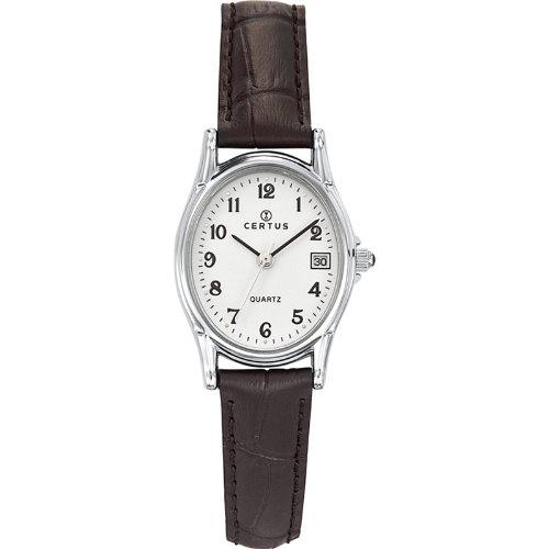 Certus 644520-Women's Watch Analogue Quartz White Dial Black Leather Strap