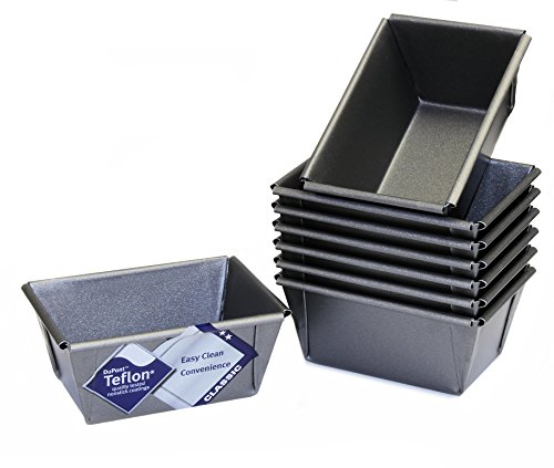 Mini Loaf Tins, Set of 8, with Teflon ®TM Non Stick, British Made by Lets Cook