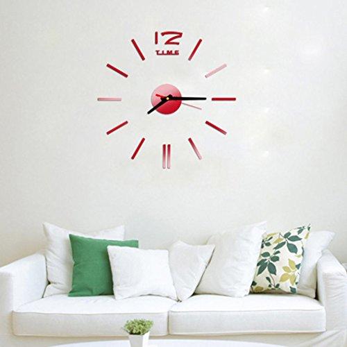 Shage Mini Moderne DIY Wanduhr 3D Aufkleber Design Home Office Room (Rot)