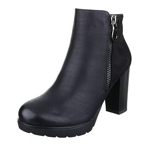 Klassische Stiefeletten Damen Schuhe Schlupfstiefel Blockabsatz Leicht Gefütterte Reißverschluss Ital-Design Stiefeletten Schwarz