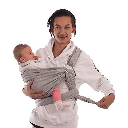 Babytragetuch & Ring Sling 2 in1, Elastisches Baby Tragetuch mit Aluminium-Ringe für Neugeborene. Babytrage & Tragehilfe mit Trageanleitung. Ergobaby BabyBino Wickeltuch das perfekte Geschenk,hellgrau