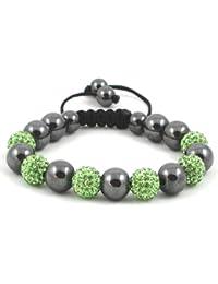 06-Ball Green Bead Shamballa Bracelet with Hematites & no strings