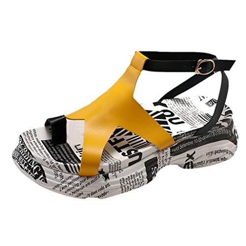 Floweworld Damen-Plattform-Freizeitschuhe öffnen Zehe-Muffin-Plattform-Sandelholz-Sommer-Knöchel-Wölbungs-Strand-Schuhe Braided Wedge Sandal