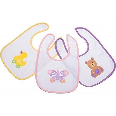 Bieco 38013133 Baby Lätzchen Girls, 3-er Set, circa 27.5 x 19 cm (Schmetterling Tuch Lätzchen)
