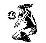 Adesivi murali ragazza sportiva Adesivi murali ragazze teenager Camera da pallavolo Beach Donna Decalcomania della parete del vinile Smontabile Femminile Art Home Decor84x108cm