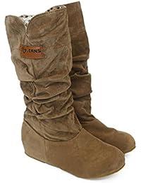 Amlaiworld Botas altas de rodilla mujer Bota de tacón plano Zapatos de otoño invierno --34/42