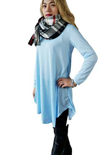 Womens Asymmetrical Casual Feminine Long Sleeve Tunic Shirt Dress Blue
