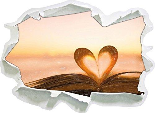 Das Herz aus einer Buchseite Kunst Buntstift Effekt, Papier 3D-Wandsticker Format: 92x67 cm...