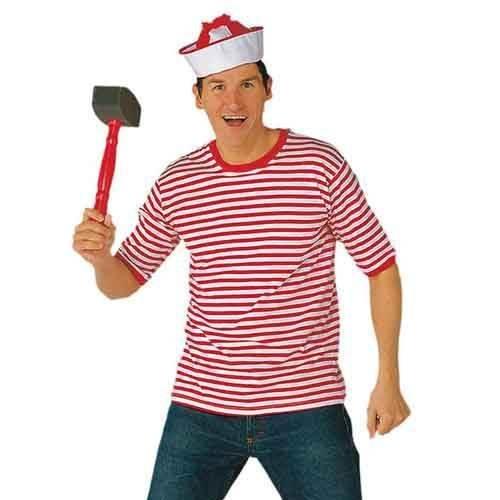 PARTY DISCOUNT ® Ringelshirt Kurzarm, rot-weiß, Gr. L (Rote Kurzarm Kostüm)