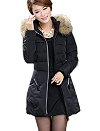 FINEJO Women Casual Winter Slim Thick Long Down Jacket Fur Collar Coat Overcoat