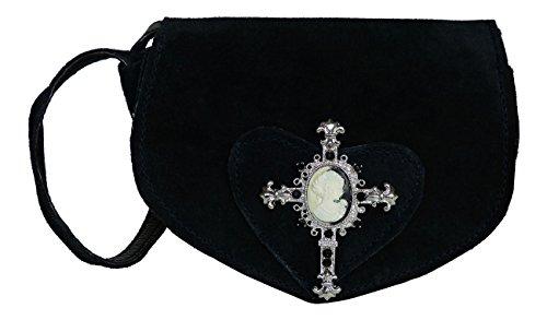 Süsse Umhängetasche- Trachtentasche fürs Dirndl - Echt Leder - Wildleder Tasche (17x13x6 cm) (Schwarz/Kreuz)
