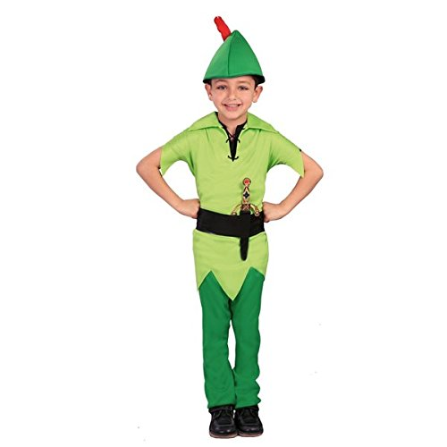 Guirca- Peter_Pan Costume Arciere-Robin Hood-Bambini 7/9 Anni 140/158, Colore Verde, 7-9, 82742