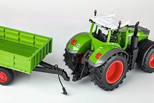 RC Auto kaufen Traktor Bild 3: Carson 500907314 500907314-1:16 RC Traktor mit Anhänger 100% RTR, Ferngesteuertes Fahrzeug, Baufahrzeug mit Funktionen Licht und Sound, inkl. Batterien und Fernsteuerung, grün*