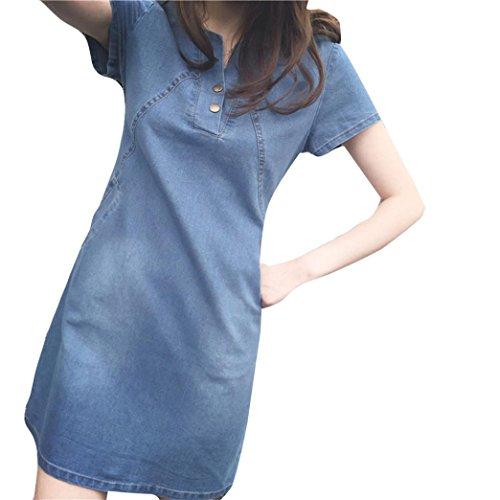 Janly® Woman Dresses, Women Casual Denim Short Sleeve Dress Plus Size Ladies Teens Midi Sundress