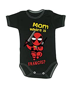 d0b59ea29 Colour Fashion Baby Deadpool Bodysuits Shortsleeve 100% Cotton 0-24 ...