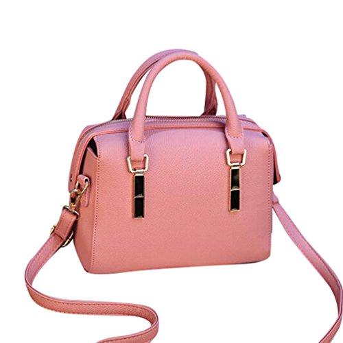 Baymate Damen Elegant PU Leder Handtaschen Groß Kapazität Umhängetasche Tote Schultertaschen Dunkel Pink