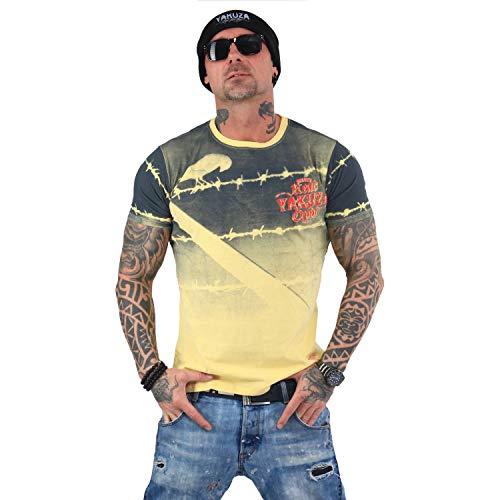 Pastel Yellow Label (Yakuza Original Herren Read Crow T-Shirt Gr:-4XL, Farbe:-Pastel Yellow)