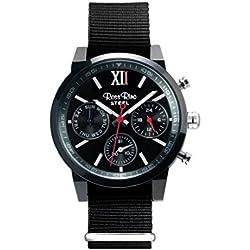 Ross Rino Aquila Unisex Quarzuhr mit schwarzem Zifferblatt Analog-Anzeige und schwarz Nylon Armband