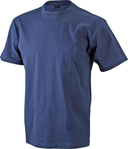 JAMES & NICHOLSON Klassisches T-Shirt mit Brusttasche Navy