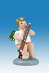Musikengel Engel sitzend mit Kontrafagott mit Krone //Natur Höhe ca 6,5 cm NEU