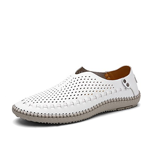 Coojoy Herren Loafers Leder Mokassins Slip On Slipper Bootsschuhe Herrenmode Schuhe Weiß Loch EU43