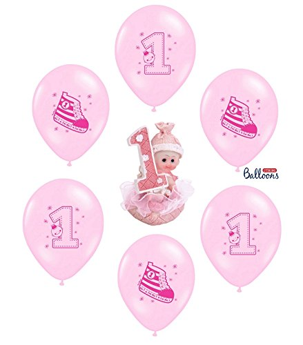 tagsdeko 1. Geburtstag Mädchen | 7 Teile All-In-One Deko Luftballons Tortenfigur Rosa Party-Set Happy Birthday ()